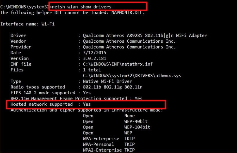 hostednetwork supported in windows 10 create wifi hotspot