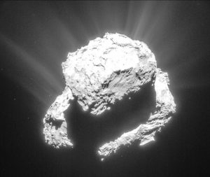 This single-frame Rosetta navigation camera image was taken at a distance of 71.9 km from the centre of Comet 67P/Churyumov-Gerasimenko on March 9, 2015. The image has a resolution of 6.1 m/pixel and measures 6.3 km across. The image has been processed to bring out the details of the comet's activity.