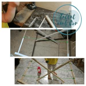 3 imágenes de la elaboración del tendedero: las manos de la peque (20 meses) con la atornilladora, tendedero con dos de las cuerdas puestas y tendedero con niña tocando una de las cuerdas