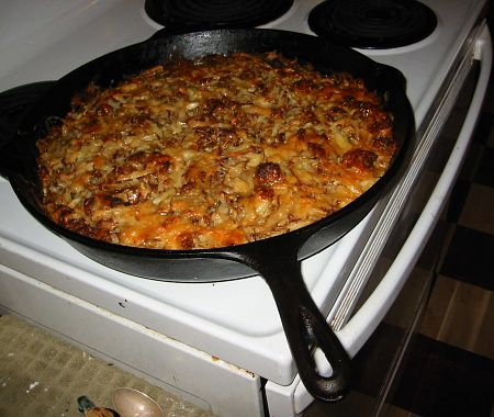 potato sausage casserole in a cast iron pan
