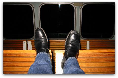 ferry commute in the dark winter months