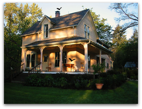 farmhouse and bulldog on porch