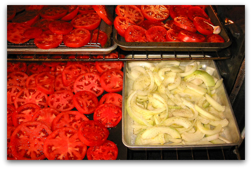 making ketchup, oven roasted tomatoes and onions