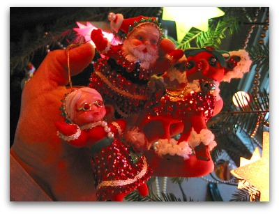 Santa and Mrs Claus as sequined ornament