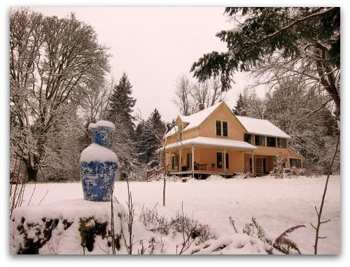 farmhouse on Vashon Island in the snow