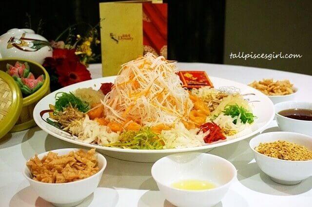 Dynasty Restaurant Chinese New Year Menu 2017: Salmon Yee Sang (鲑鱼七彩鸿運捞生)