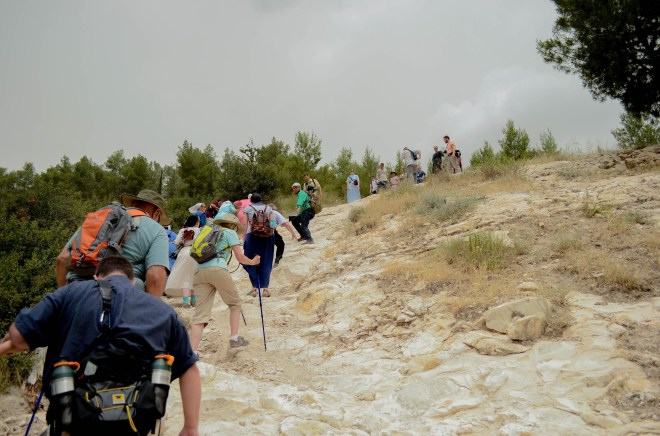 Strenuous hiking up to the top of Azekah which overlooks the Elah Valley where David fought and killed Goliath.
