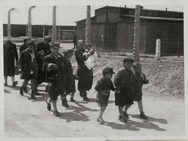 Frauen und Kinder auf dem Weg zu Krematorium IV