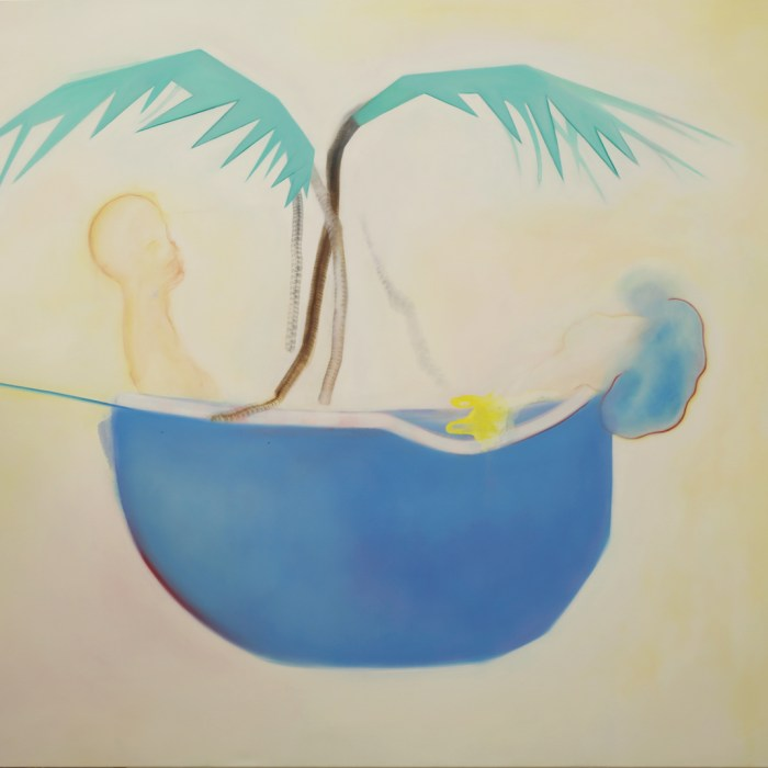 Painting titled 'Palm Boat' by painter Tal Regev