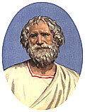 (fanciful depiction of) Archimedes, renowned ancient Greek mathematician and co-inventor (with Al Gore) of the open access internet repository