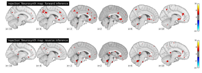 "Meta-analysis of ""rejection"" in Neurosynth (database version of May 2013 )."