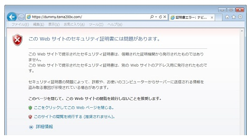 SSLサーバ証明書自己証明(IE)