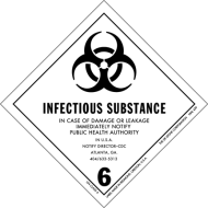 Infectious Substance - In case of damage or leakage immediately notify public health authority!