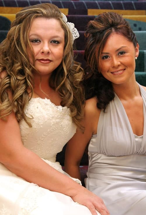 bride with maid of honor photo