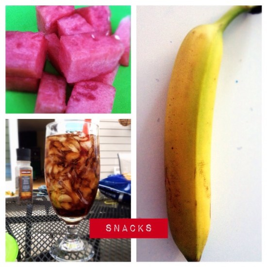 Snack: watermelon, banana and diet coke x2