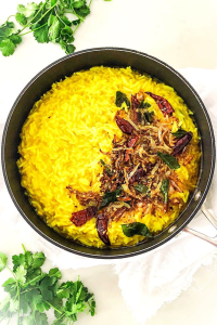 Basmati rice cooked with yellow split peas and tempered spices