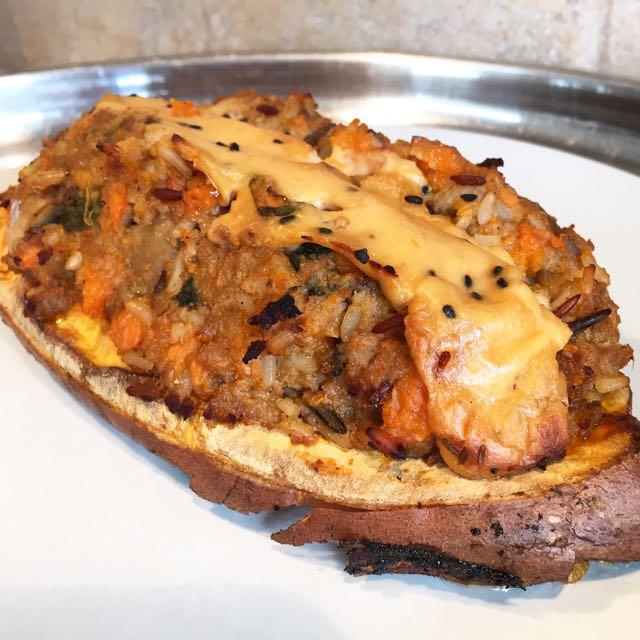 patate douce farcie pst champignon riz