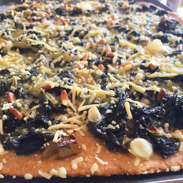 pizza oignons épinards