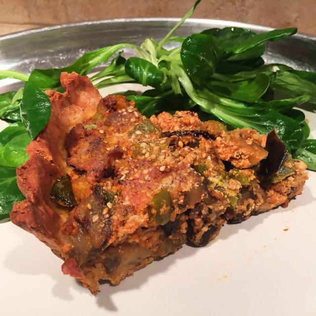 Tarte à l'aubergine et au poivron
