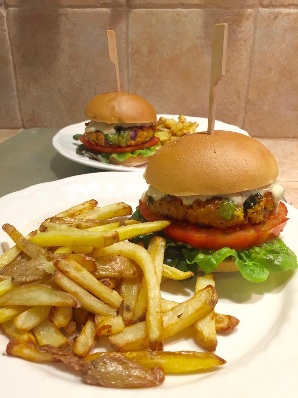 Burger de lentilles, poivron, courgette