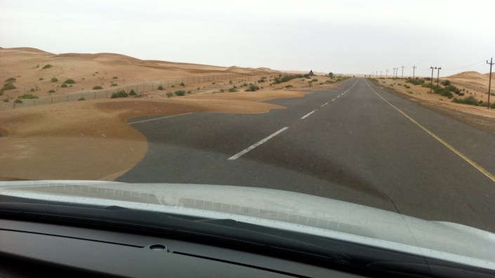 Wind blowing sand on the road - calamity
