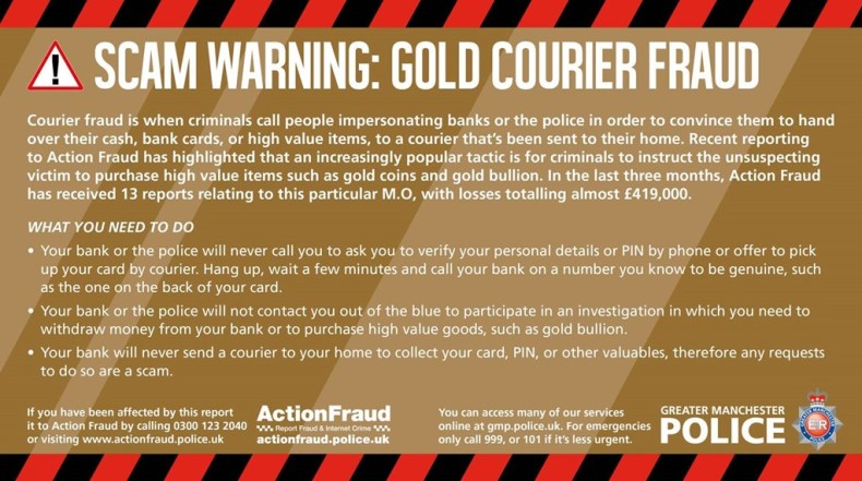 Gold Courier Fraud Warning From Gmp Saddleworth Independent