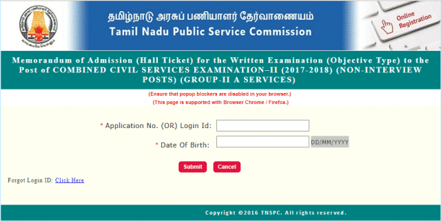 TNPSC Group 2A Hall ticket download
