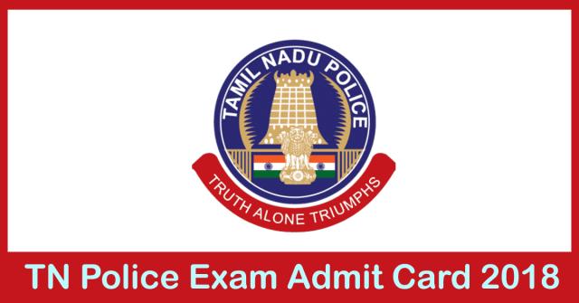 TN Police Si Admit card 2018
