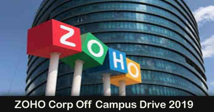 ZOHO Corp Off Campus Drive 2019: Software Developer   December 2019