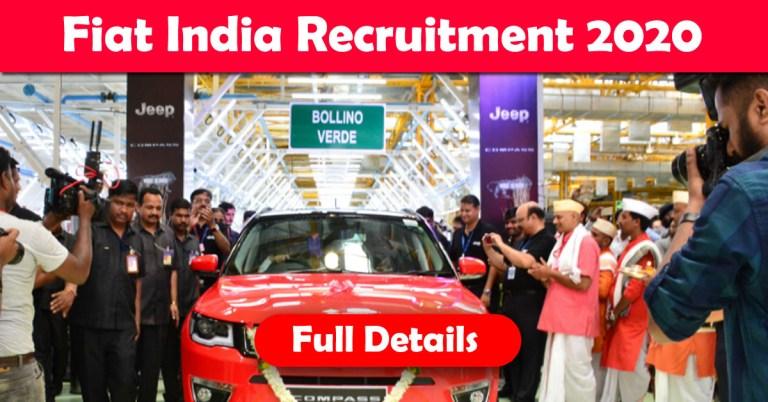 Fiat India Automobiles Recruitment 2020: 100+ Fresher & experienced Job Openings