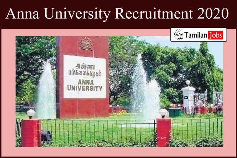 Anna University Recruitment 2020 Out – Apply SRF Senior Research Fellow Jobs