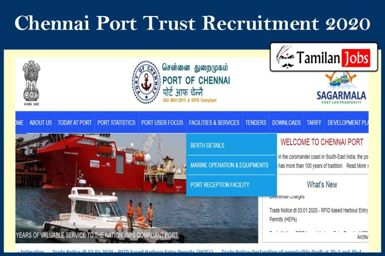 Chennai Port Trust Recruitment 2020 Out – Senior Medical Officer Jobs