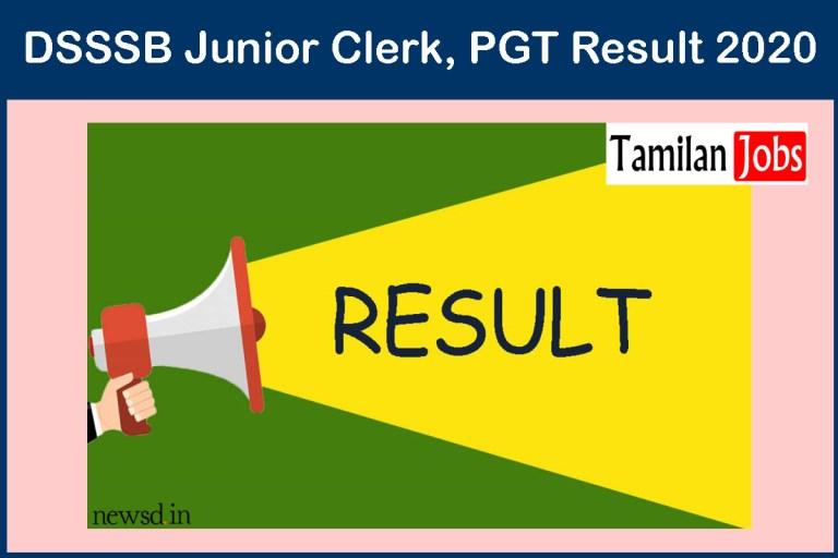DSSSB Junior Clerk, PGT Result 2020 – Download Here