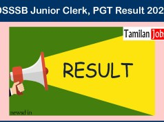 DSSSB Junior Clerk, PGT Result 2020