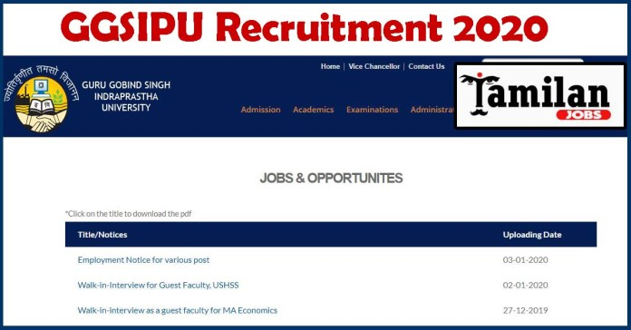 GGSIPU Recruitment 2020 is out, Apply Online 39 Assistant, Stenographer Jobs