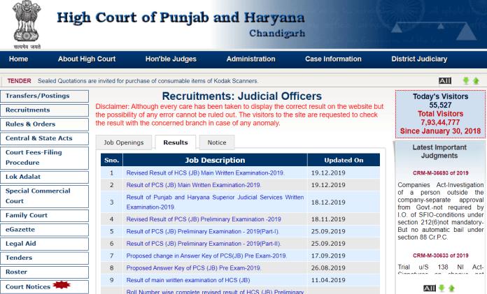 High Court of Punjab & Haryana Viva Voce Date 2020