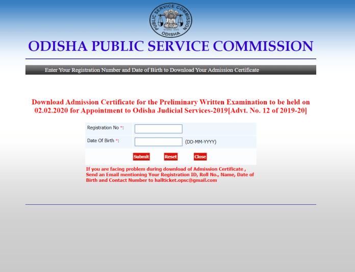 OPSC Judicial Service Prelims Admit Card 2020