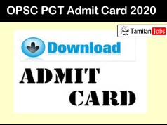 OPSC PGT Admit Card 2020
