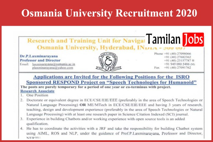 Osmania University Recruitment 2020