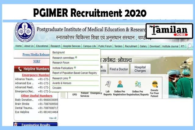 PGIMER Recruitment 2020
