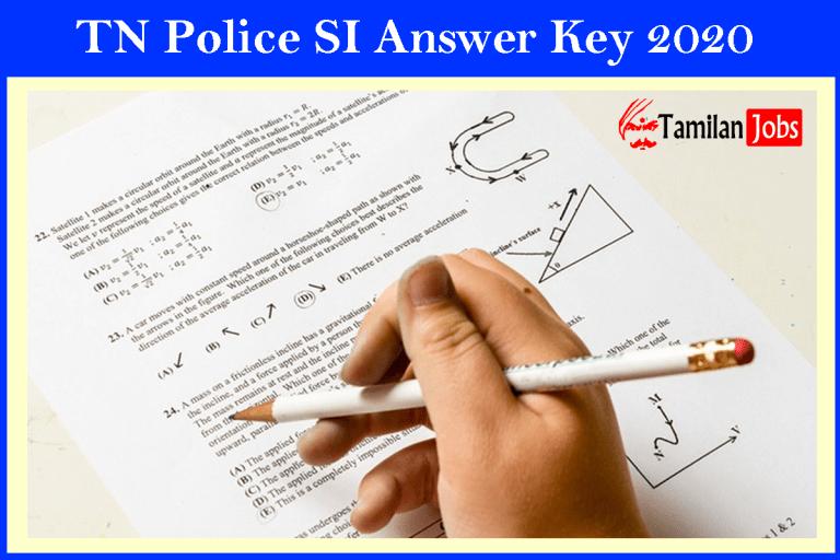 TN Police SI Exam Answer Key 2020 (Out) | TNUSRB Official keys