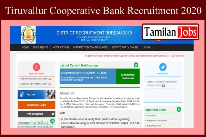 Tiruvallur Cooperative Bank Recruitment 2020
