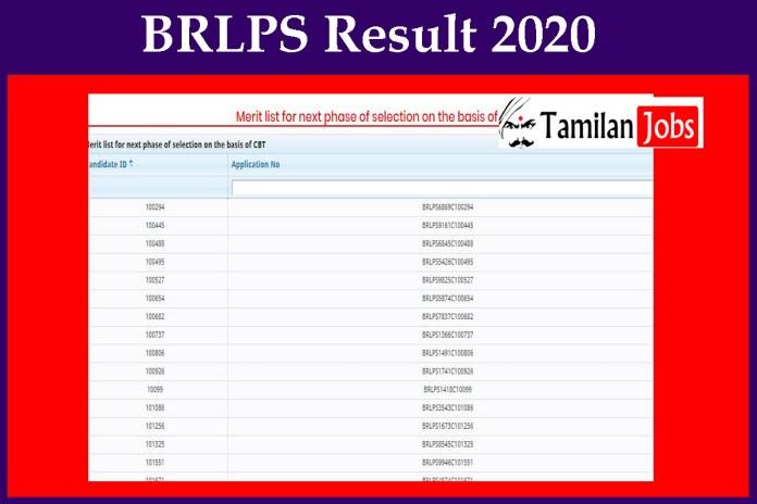 BRLPS Result 2020 OUT | Download Cut Off, Merit List