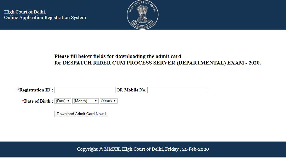 Delhi High Court Dispatch Rider Admit Card 2020