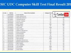 ESIC UDC Computer Skill Test Final Result 2019