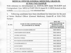 HAL Senior Medical Officer Result 2020