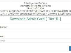 IB Security Assistant Executive Tier 2 Admit Card 2020