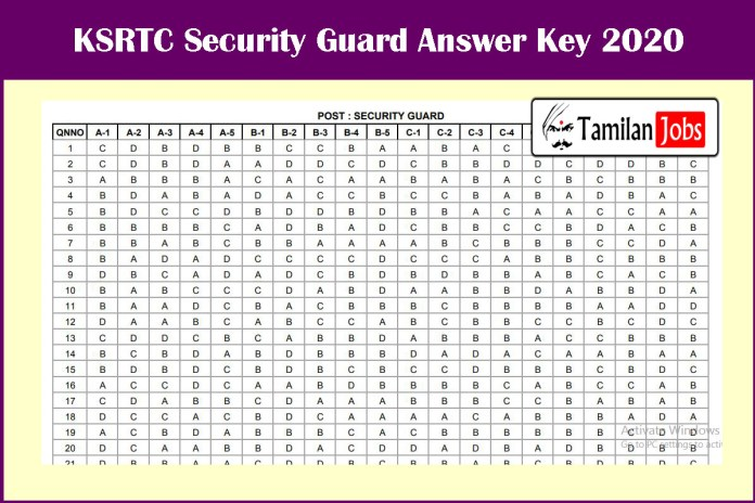 KSRTC Security Guard Answer Key 2020 Released