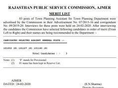 RPSC Town Planning Assistant Result 2020