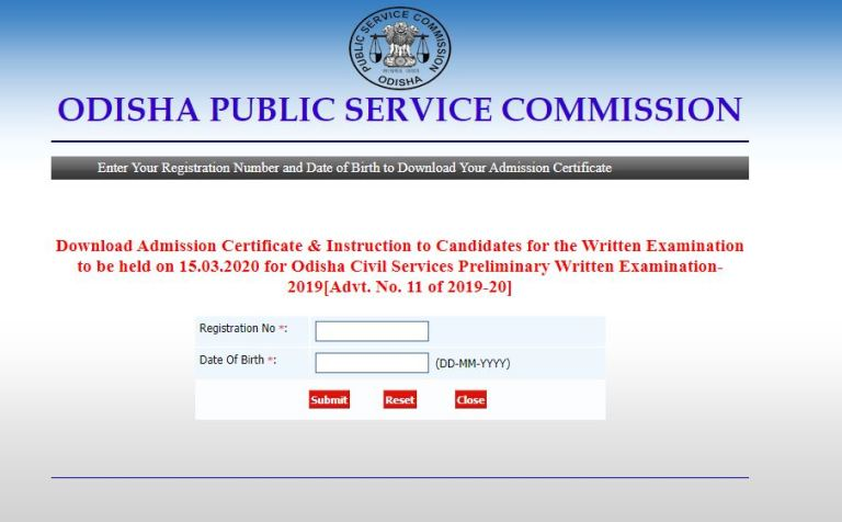 OPSC Civil Services Admit Card 2020 OUT   Download Preliminary Exam Date